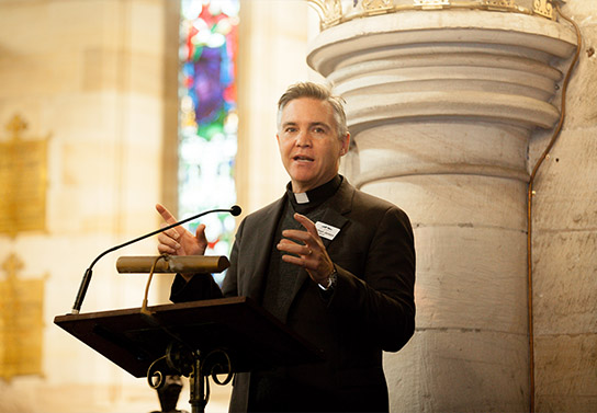Michael Jensen preaching a sermon